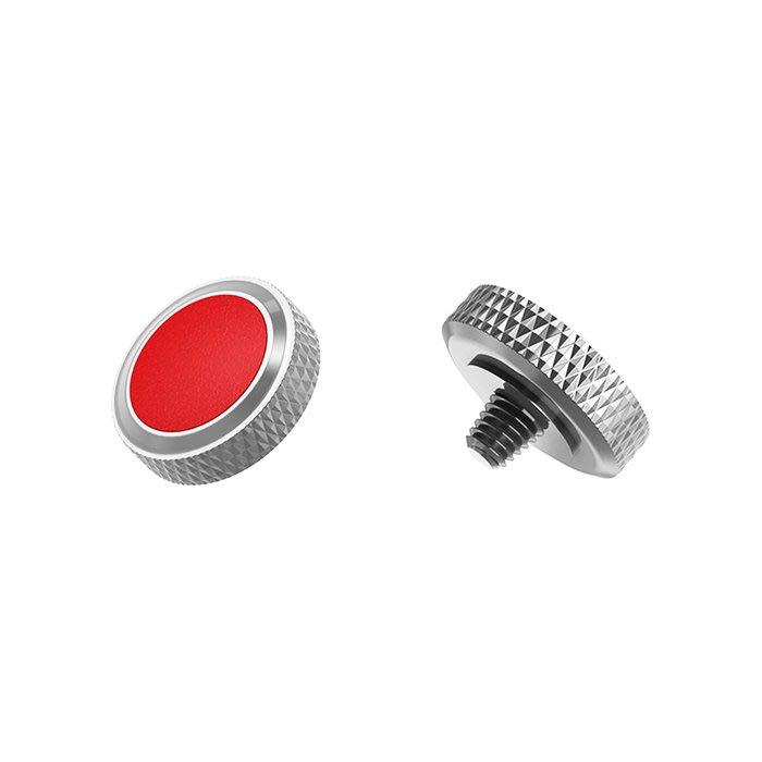 【傑米羅】JJC 機械相機 螺牙式 快門按鈕 增高鈕《純銅製 豪華版》(SRB-GR 銀框紅皮) - 帶防脫圈 防鬆脫