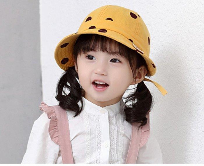 現貨~(1-3歲)女童圓點造型盆帽男女童出遊遮陽帽寶寶蝴蝶結漁夫帽可折疊(白色/黃色/粉色)