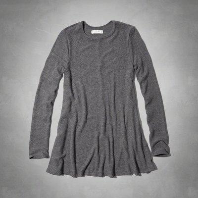 Maple麋鹿小舖 Abercrombie&Fitch * AF 灰色素面長袖洋裝* ( 現貨XS號 )