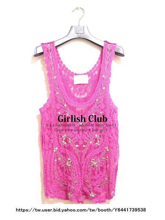 【Girlish Club】韓國製桃紅水鑽上衣背心T恤F(m1017)陳季敏貝爾尼尼萊卡佛葉珈伶ck韓國sz一九一元起標