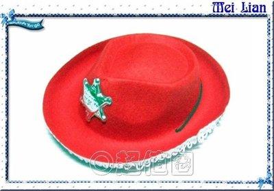 {超值圈}角色扮演/化妝舞會/表演道具帽子~全新台製警長牛仔帽-【小款紅色】(出清價每頂25元)