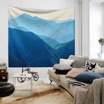 藍色山形 風景墻壁 掛布IN S北歐宿 舍床頭掛 毯壁畫背 景布裝飾 掛毯簾