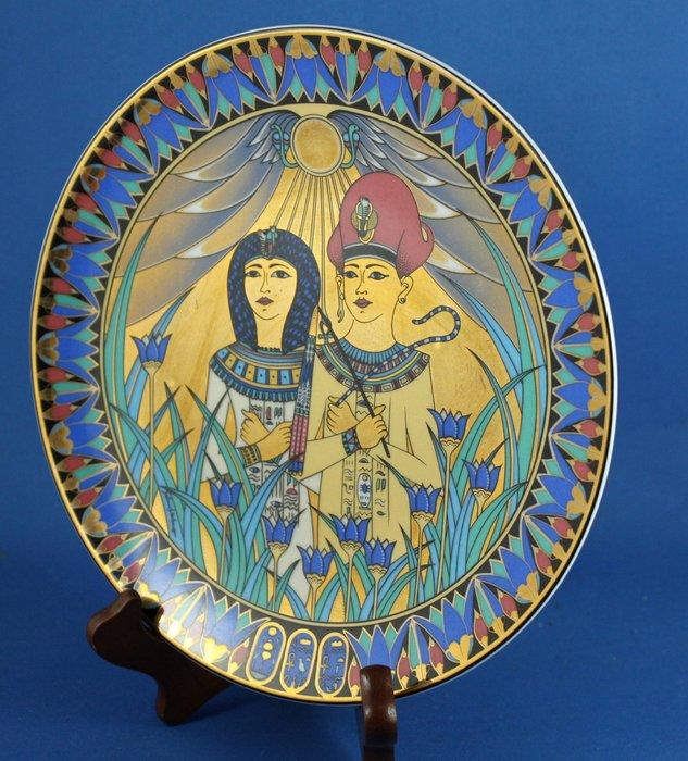 [美]英國百年名瓷ROYAL WORCESTER 1991年埃及裝飾盤 - 圖坦卡門及皇后