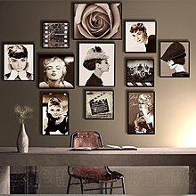 複古懷舊海報裝飾畫咖啡廳酒吧牆上裝飾品掛件木板畫女裝店壁掛畫(11幅一組)