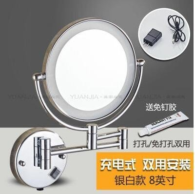 『格倫雅』免打孔帶燈美容鏡雙面LED化妝鏡子浴室折疊梳妝放大鏡壁掛式伸縮^15798