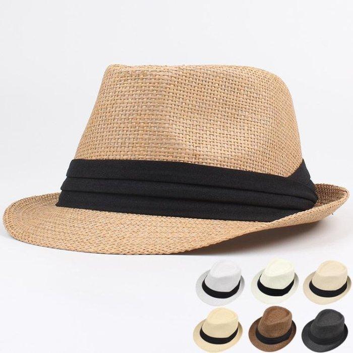 帽子男 禮帽 男士草帽夏季新款帽子歐美爵士帽三折帶情侶沙灘遮陽草帽紳士帽yx432