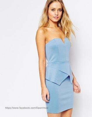 英國性感平口深V露肩露背美胸合身洋裝藍...