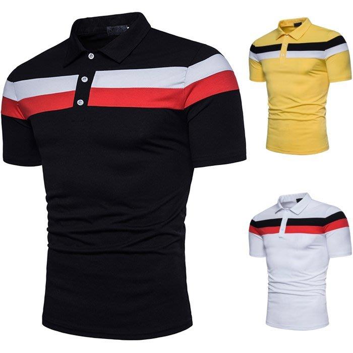 『潮范』 S5 條紋POLO衫 胸口雙色橫條紋拼接圖案POLO衫 時尚搭配男式短袖POLO衫NRG813