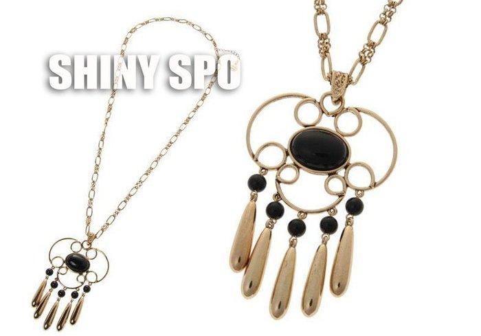 SHiNY SPO 日本品牌 Lagunamoon 波希米亞風金色中鑲寶石墜飾下流蘇百搭項鍊 特價