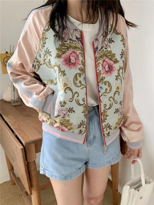 【An Ju Shop】外單 歐美西班牙風 棒球服刺繡女原宿風bf小清新綢緞面短款外套~OI028902