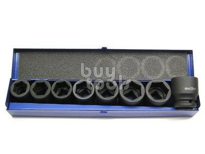 BuyTools-《特價》氣動六分短套筒組/6分氣動6角套筒組、鉻鉬鋼耐用、26~38mm* 8 PCS 鐵盒裝「含稅」