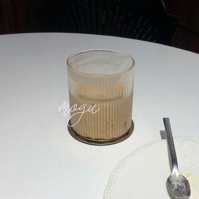 BlueLetter·蘑菇 免運 咖啡杯 簡約大方 條紋玻璃杯 輕薄有質感 擺拍利器