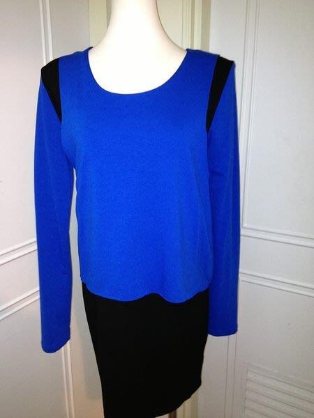 國外帶回韓版拼接撞色藍黑色修身顯瘦假兩件長上衣