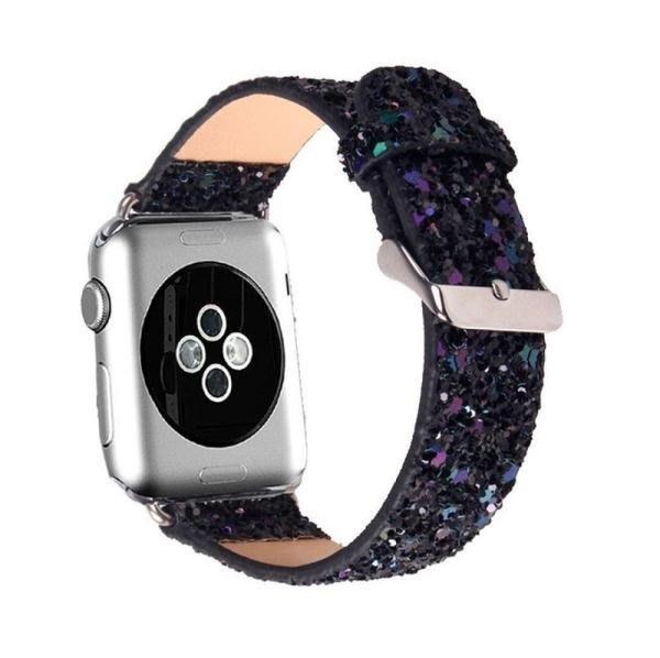 時尚軟皮亮片蘋果apple watch123代手錶帶軟i皮質watch針扣潮男女 【粉紅記憶】