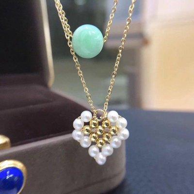 加恩韓版新款小清新手工編織天然a貨翡翠淡水珍珠雙層愛心項鏈 定制12311