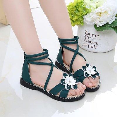 女童涼鞋2019新款韓版夏季露趾小女孩公主鞋兒童沙灘軟底羅馬鞋子