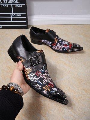 個性時裝男皮鞋 潮流高端時尚大牌男鞋英倫風鋼頭尖頭男皮鞋透氣男士商務正裝皮鞋