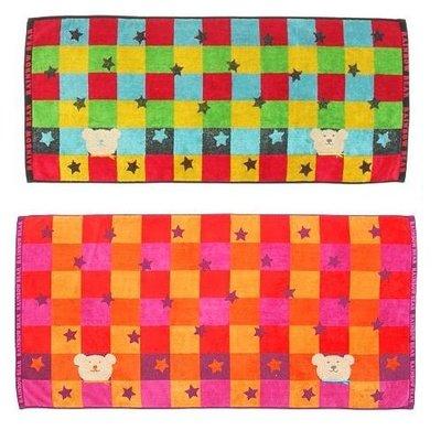 尼德斯Nydus~* 日本正版 彩虹熊 Rainbow Bear 浴巾 大毛巾 格子款 120cm 100%純棉-日本製