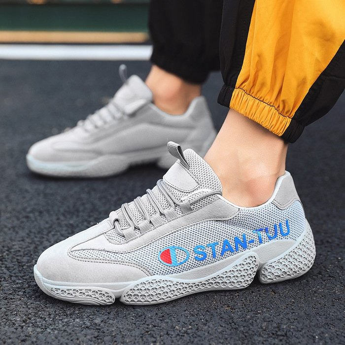 時尚男鞋透氣網面男鞋韓版時尚潮鞋ins超火的鞋子男百搭帆布鞋男