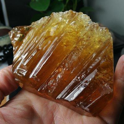 [友克鑫礦業]30約重292.3g琥珀色黃方解石Calcite蜜糖色霰石Aragoni原礦 晶簇 晶塊 晶柱 水晶柱 水