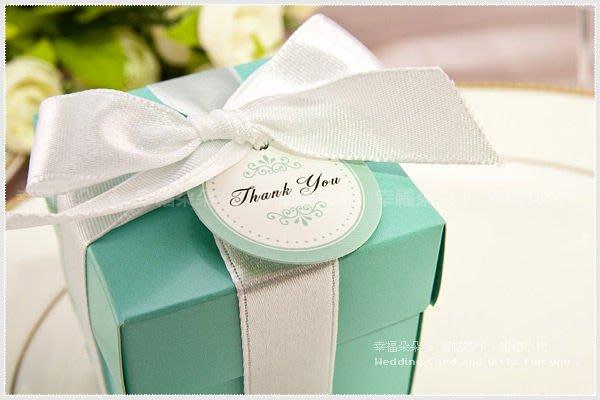 *幸福朵朵*╯【單售-歐美流行Tiffany經典藍喜糖盒(DIY含緞帶.小卡-不含內容物)】婚禮小物