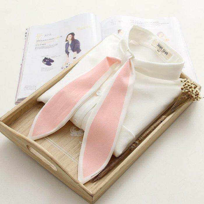襯衫 森女系 文藝范 超萌的粉色長兔耳朵襯衫  可愛軟妹打底長袖襯衫