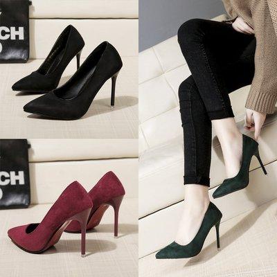 高跟鞋2018年春季新款性感黑色墨綠色...