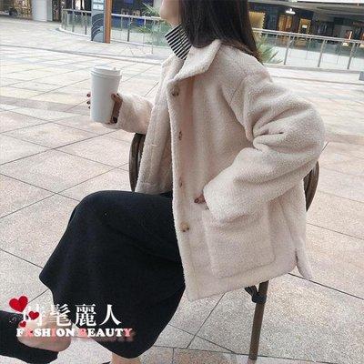 仿羊羔毛外套女冬2018新款寬鬆學生百搭加厚毛呢上衣