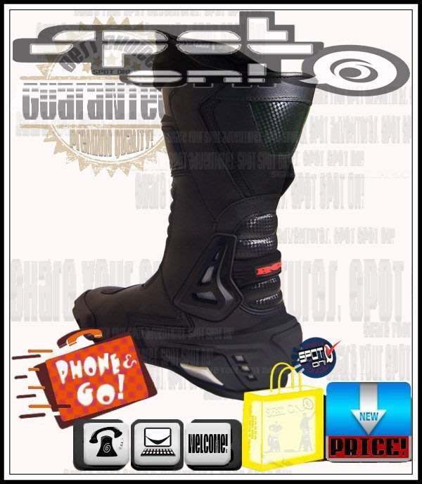 Spot ON - VCS07款 PU 保護真皮 碳纖款長車靴!特價超值! ONZA KOMINE 848 MONKY