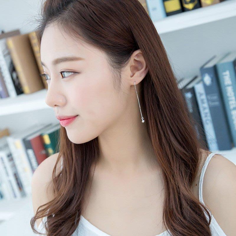 純銀方塊糖果耳線日韓國氣質簡約清新長款女學生耳環耳飾防過敏版