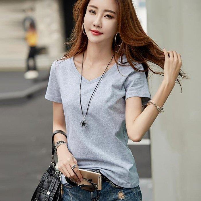 夏裝新款棉純白色V領短袖T恤女寬鬆韓版學生半袖體恤上衣服 【創意家居】