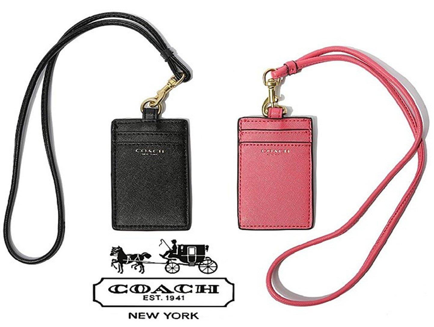 (現貨)COACH 正品 專櫃限量版 荔枝皮紋 LOGO高端大氣 卡套 證件 工作證套 掛件 -情人禮物