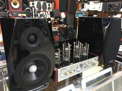 DENNYS真空管擴大機(AV-814)+Austin STAND-4.1 鋼烤書架型喇叭 黑色