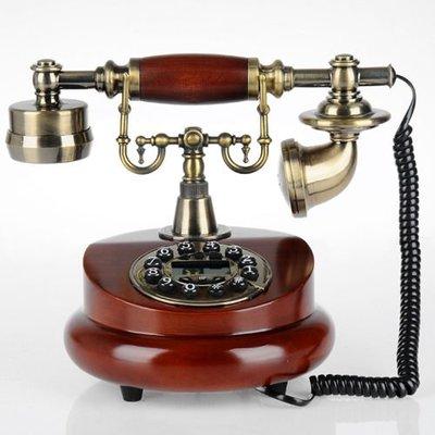 5Cgo 【批發】含稅會員有優惠 17608252125 特價歐式仿古電話機實木創意時尚帶來電顯示家居裝修