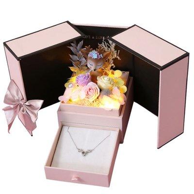 永生花禮品盒七夕情人節禮物包裝盒子一鹿有你項鏈口紅首飾盒禮盒#禮品盒#包裝盒#創意#禮物盒