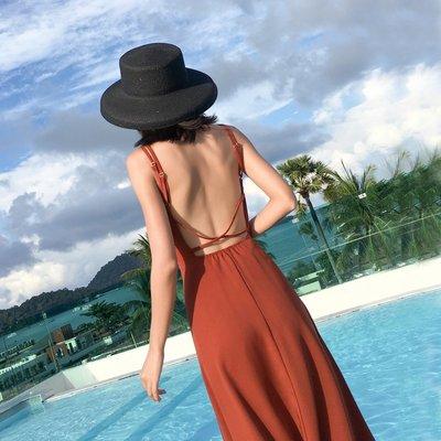 【Strawberry】泰國普吉島沙灘裙女海邊度假海南三亞吊帶顯瘦長裙夏季露背連衣裙