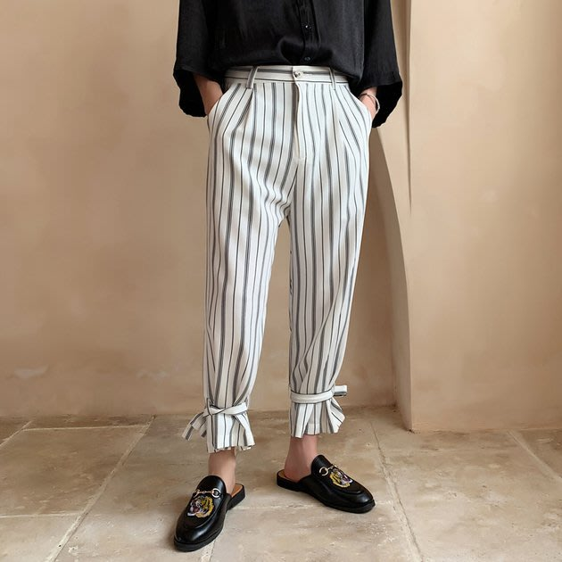 FINDSENSE品牌 訂製 G6 韓系男裝 正韓黑色白色灰色條紋直筒大尺碼九分褲男褲子長褲運動時尚休閑褲