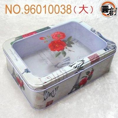 【圓創烘焙包裝、 包裝】牡丹鐵塔開窗鐵盒(L)  紙袋、 、塑膠袋、壓克力訂作