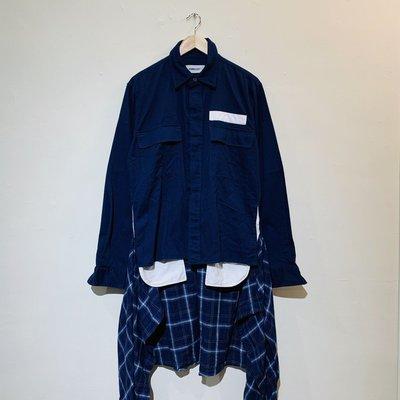 (Used) Ambush 12111445  Shirt 深藍 長板 假兩件 多層次 長袖 襯衫 現貨