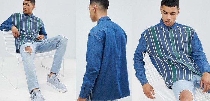 ◎美國代買◎ASOS白條紋與藍綠色塊相間復古英倫時尚藍綠白條紋印花牛仔襯衫上衣~歐美街風~大尺碼