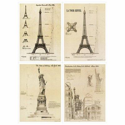 美式复古埃菲尔铁塔装饰画画芯油画布喷绘...