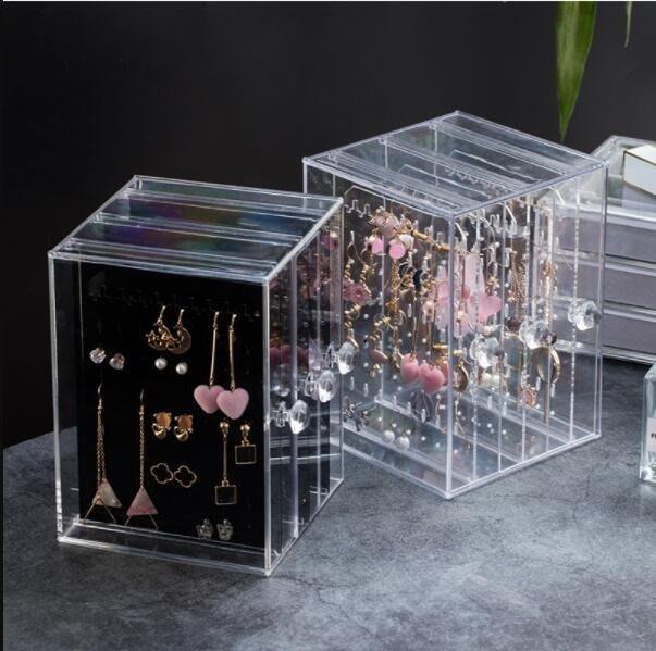 首飾盒飾品收納盒耳環架子展示架家用收納 掛項鍊耳飾飾品架大容量透明首