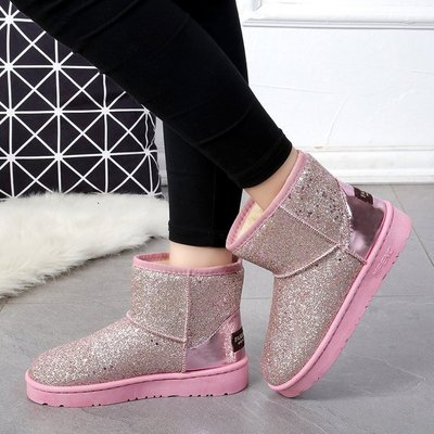 2019冬季加厚馬丁靴厚底防滑雪地靴韓版亮片學生靴短筒靴圓頭女靴