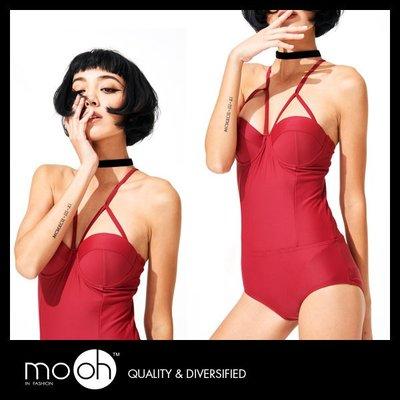 連身泳衣 泳裝 一件式 性感露背 顯瘦 顯白 深V 胸墊 保守 時尚 復古 mo.oh 歐美