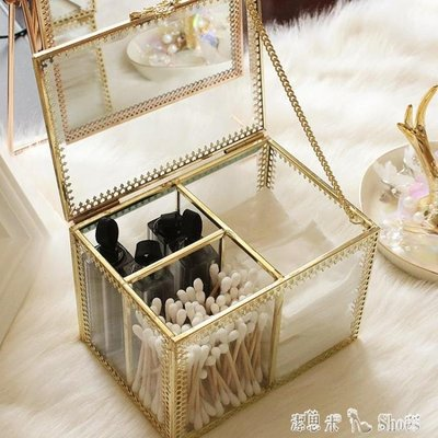 復古玻璃非亞克力化妝棉收納盒棉簽整理盒透明梳妝臺桌面收納棉簽