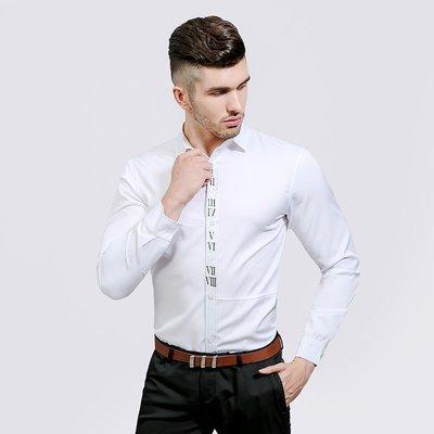 新款男裝時尚門襟阿拉伯數字印花男士休閑翻領長袖襯衫