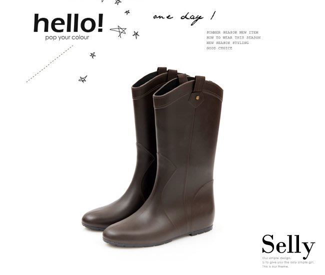 Selly outlet (RN34)織帶鉚釘心機內增高中筒雨靴 - 咖啡色LL號 NG210
