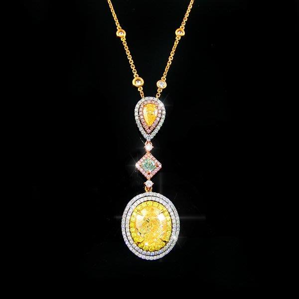 【LOVES鑽石批發】GIA證書 3.05克拉 天然黃色彩鑽項鍊 Fancy Light Yellow 耀眼金黃/LOVES DIAMOND/婚戒 對戒 粉鑽