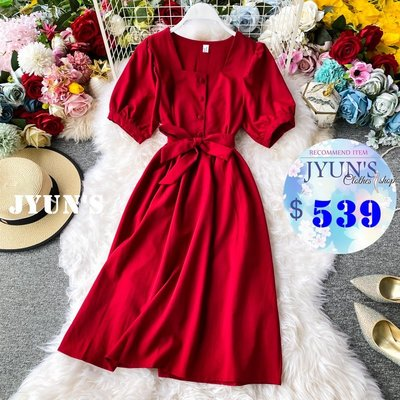 JYUNS 春夏新款法式純色百搭氣質方領泡泡袖顯瘦收腰綁帶繫帶短袖洋裝連衣裙4色 預購