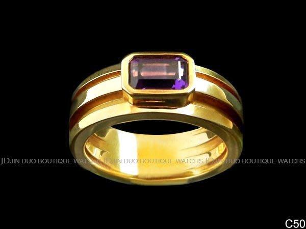 金鐸精品~C50 TIFFANY&CO. T&CO.蒂芬妮 紫水晶主石18黃K金寬版 環圈狀造型戒指
